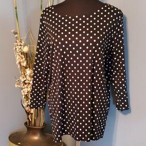 Avon Polka Dot Long Sleeve Blouse size 1X/1T